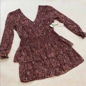 NWT 1State Pink/Black Minidress long sleeved L